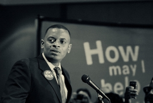 Anthony Foxx gives a victory speech after learning of his win on election night. Photo Credit: Henk Jonker.