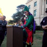 KKK Grand Dragon James Moore of Virginia speaks at the rally.