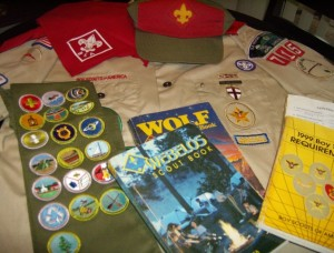My Boy Scout uniform and handbooks.