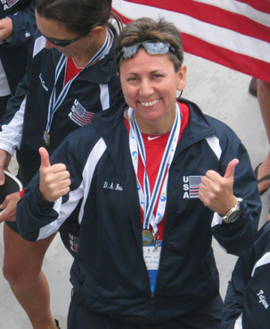 One World Dragon Boat founder Denise Bauer after receiving a medal as member of the U.S. team at the 2012 international dragon boat championships in Milan.