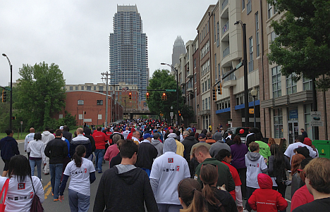 Participants in AIDS Walk Charlotte braved cloudy skies and windy, cooler temperatures to raise $140,000 for the Regional AIDS Interfaith Network.