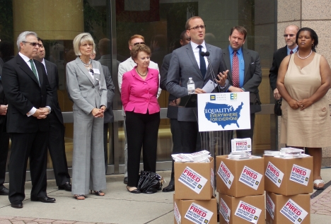 Human Rights Campaign President Chad Griffin speaks on LGBT employee protections at a press event in Charlotte on Tuesday, July 9, 2013, with local and regional elected officials, business leaders and activists.