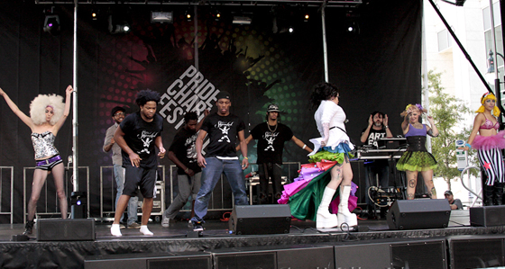 Performers from Snug Harbor's ShipRocked! on the stage at last year's Charlotte Pride. Photo via Charlotte Pride. Credit: CarlMillerPhotos.com.