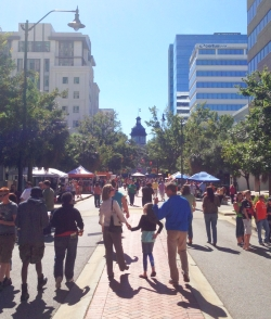 SC Pride's street festival was held on Main St., looking toward the South Carolina State House. Photo Credit: Gary Carpenter.