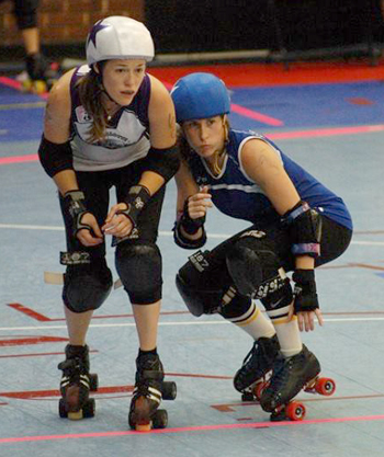 The Charlotte Roller Girls All-Stars gave their all against the Florida Rebels. Photo Credit: Helen James-Storey