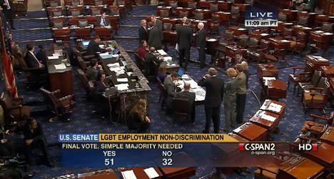 A still from C-SPAN coverage of the ENDA vote, showing the minimum 51 votes needed to pass the measure at 2:09 p.m. Eastern on Thursday.
