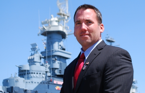 Republican-turned-Democratic candidate Jason Thigpen at the U.S.S. North Carolina. Via Jason Thigpen/Flickr.