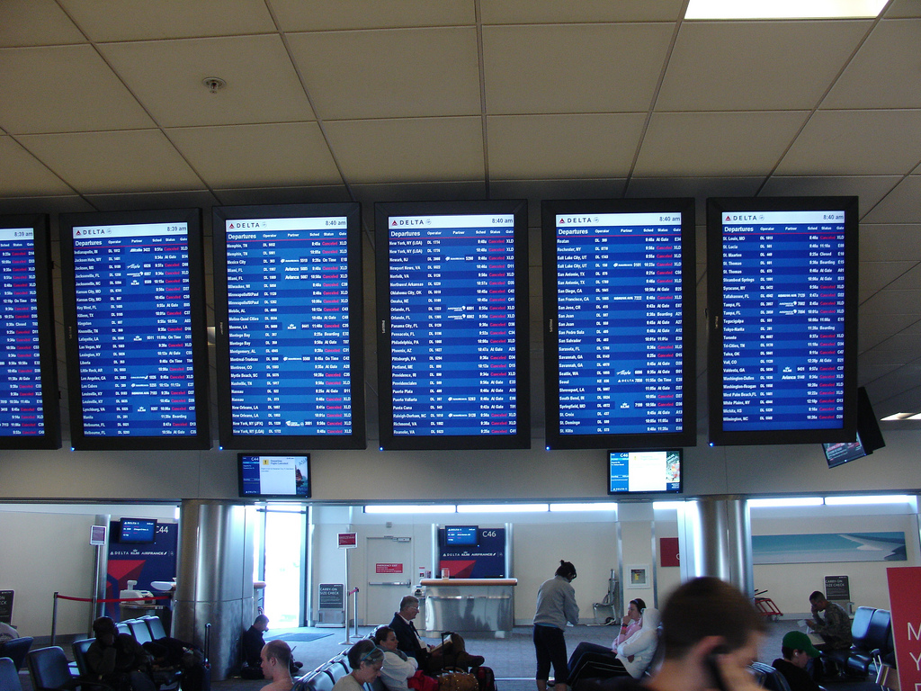A Delta screen at Atlanta's