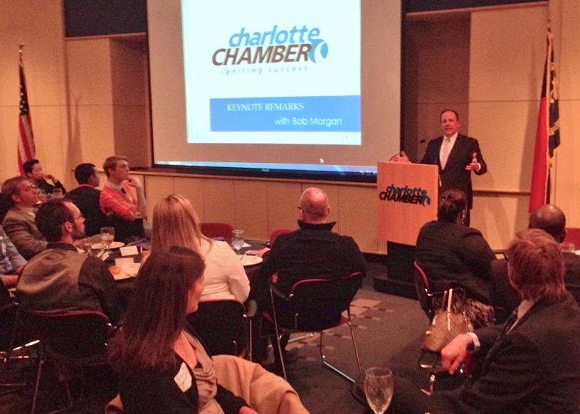 Charlotte Chamber of Commerce President and CEO Bob Morgan speaks at a gathering of LGBT business owners, non-profit leaders and others at a Charlotte Business Guild dinner meeting celebrating their new membership in the National Gay & Lesbian Chamber of Commerce.