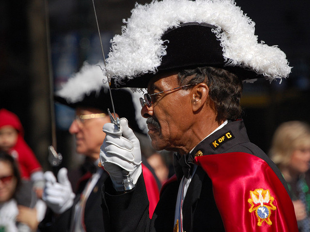 A member of the Knights of Columbus in a past Charlotte St. Patrick's Day Parade. Photo Credit: James Willamor, via Flickr. Licensed CC.
