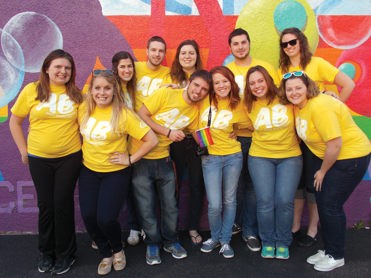 Students from Central Michigan University participated in an alternative spring break with Campus Pride (left to right, back to front): Renee Renauer, Brandon Robinson, Mari Poindexter, Steven Taylor, Emily Huckbone, Sarah Stack, Laura Trombley, Natalie Shaefer, Scott Stewart, Kirsten Hissong and Arielle Hines. Photo Credit: Lainey Millen