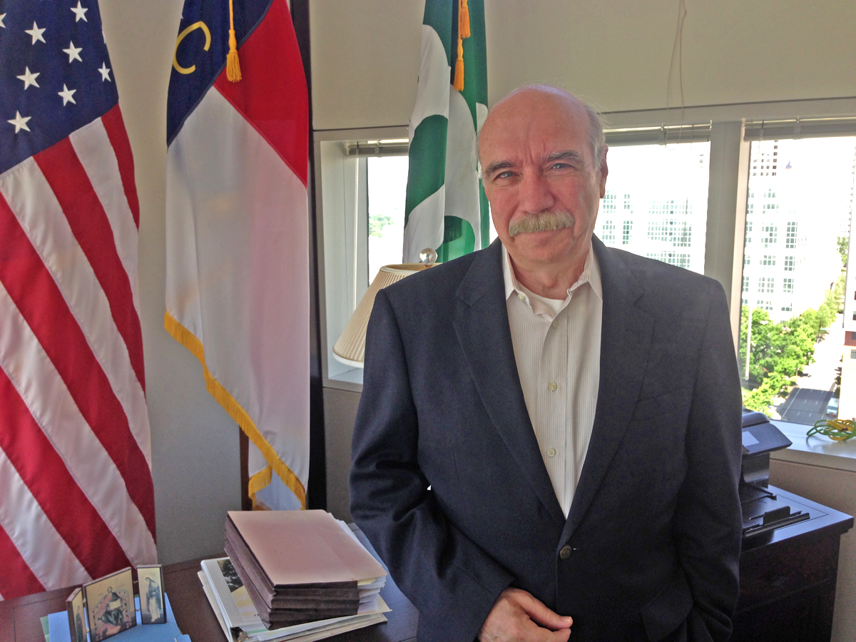 Charlotte Mayor Dan Clodfelter in his office in Uptown Charlotte. Photo Credit: Matt Comer.