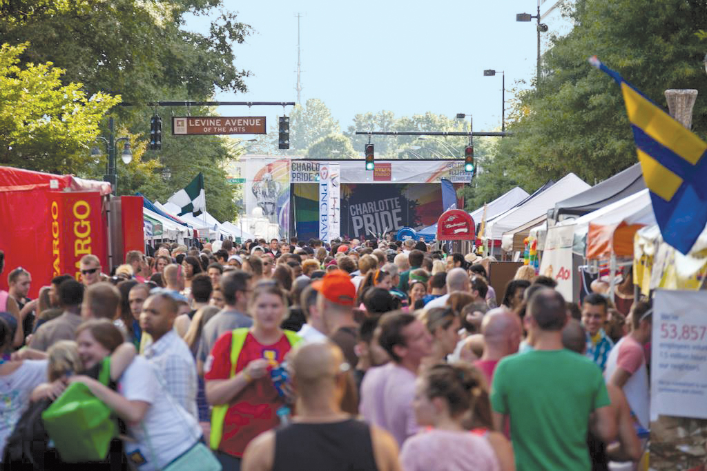 The Queen City hosts its annual Charlotte Pride Festival & Parade Aug. 16-17. Last year, organizers said 80,000 or more attended over their two day event. A variety of other Pride festivals and parades are also scheduled throughout the summer and fall.  Photo Credit:  Brandon Schauf (anopenwindowphoto.com), courtesy Charlotte Pride.