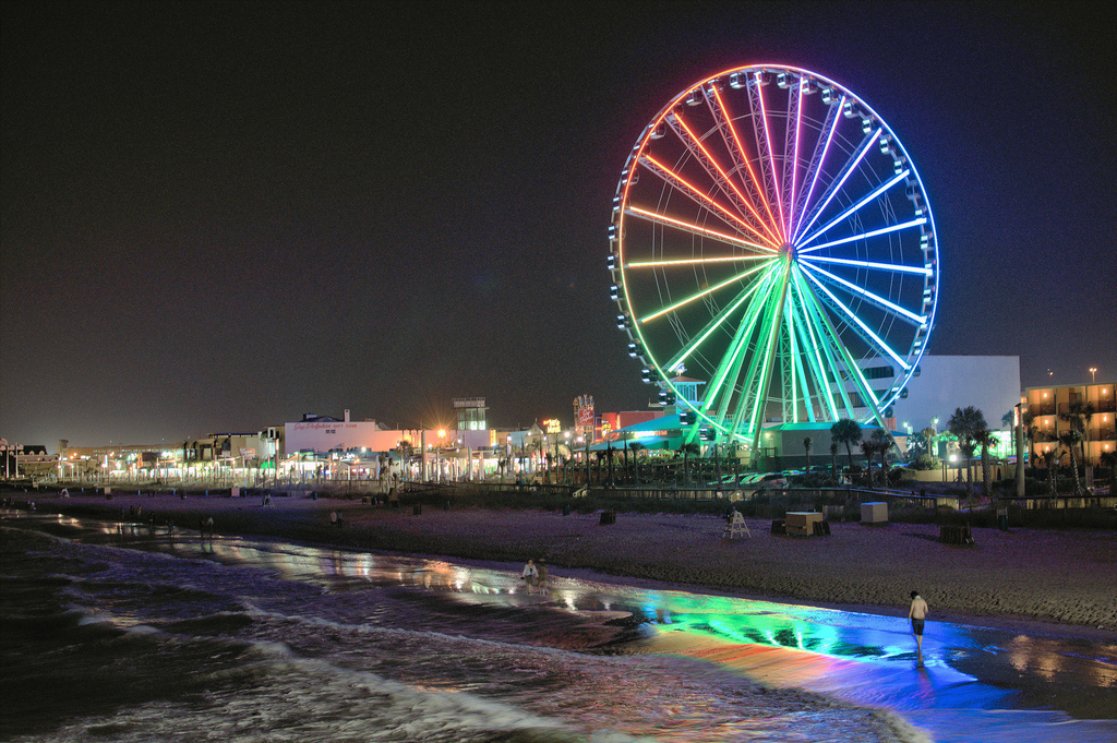 Myrtle Beach's skywheel at night. Photo Credit: Dan J, via Flickr. Licensed CC.