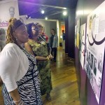 Visitors view the Pauli Murray exhibit.