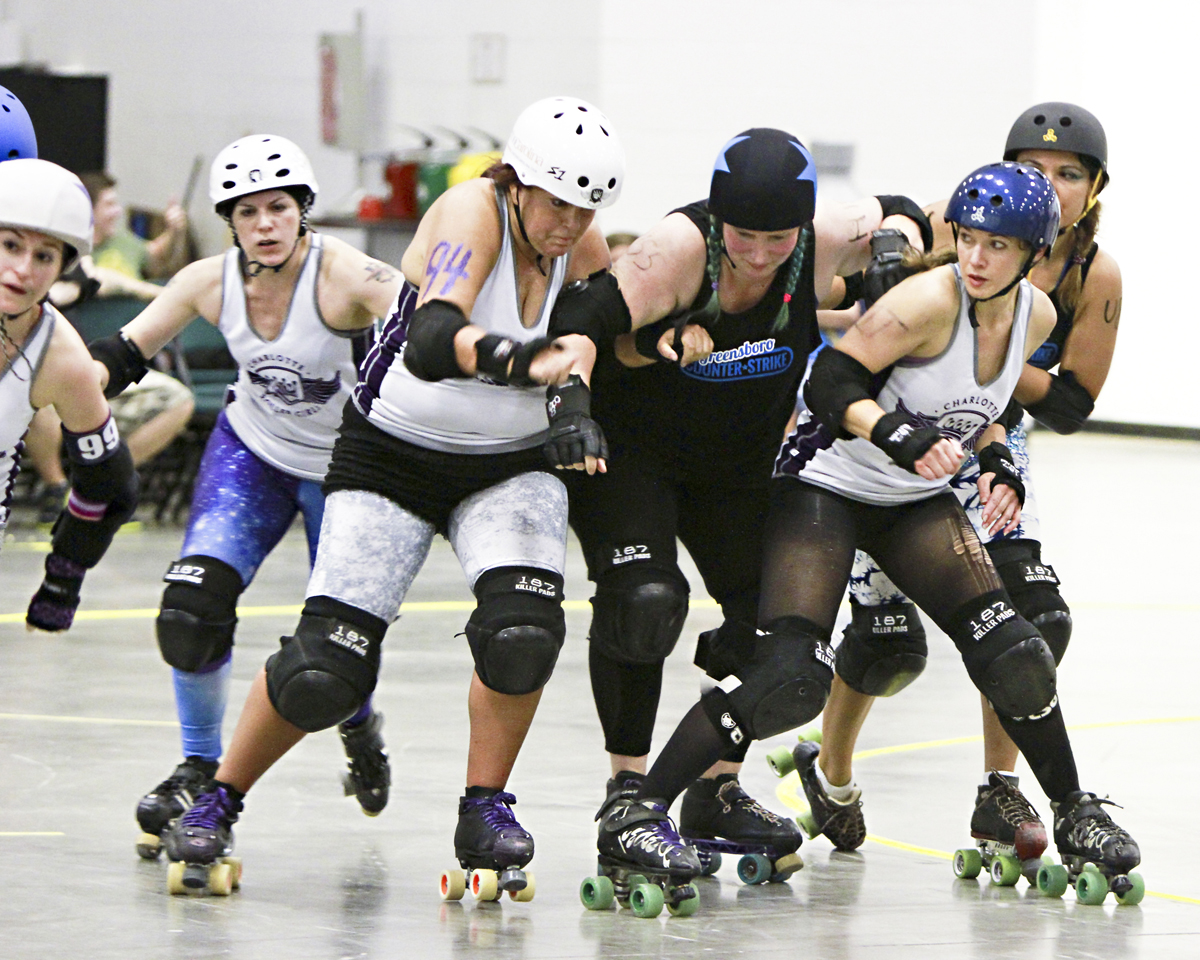 It's all about the points when the  Charlotte B-Dazzlers strive for dominance  during a recent bout. Photo Credit: Frayed Edge Concepts