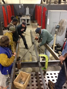 Fabrication of the trailer required all hands on deck.