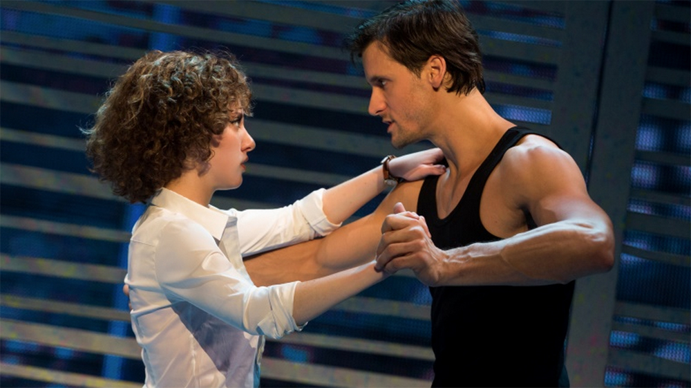 "Jillian Mueller (Baby) and Samuel Pergande (Johnny) in the North American tour of ""Dirty Dancing — The Classic Story on Stage."" Photo Credit: Matthew Murphy"