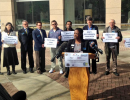 Crystal Richardson speaks to media at a morning press conference with the Charlotte Non-Discrimination Ordinance Coalition.
