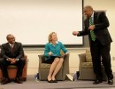 Democratic mayoral candidates Michael Barnes, left, Jennifer Roberts, center, and David Howard, right, during a mayoral forum on April 9, 2015 at UNC-Charlotte featuring three of the four Democratic candidates running for mayor. The forum, hosted by the UNCC College Democrats, was held at the Fretwell Building at UNC-Charlotte. The candidates answered student submitted questions, and there was a student moderator. Photo Credit: Diedra Laird/Charlotte Observer.