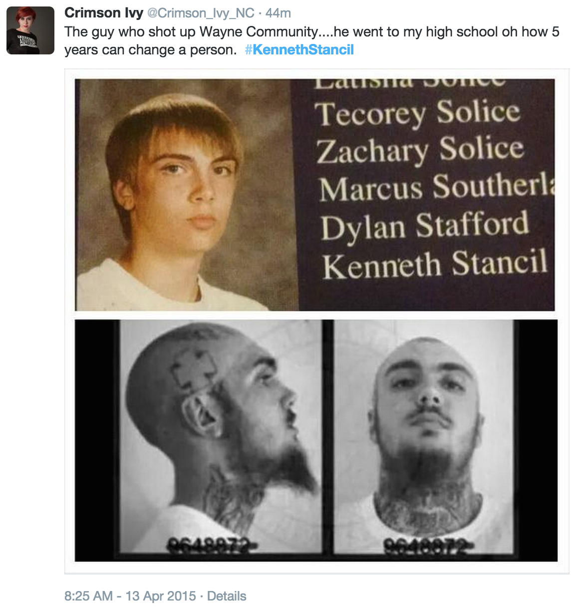 Alleged yearbook photo of Kenneth Stancil as a high school freshman and alleged current photo, from Twitter user Crimson_Ivy_NC (src)