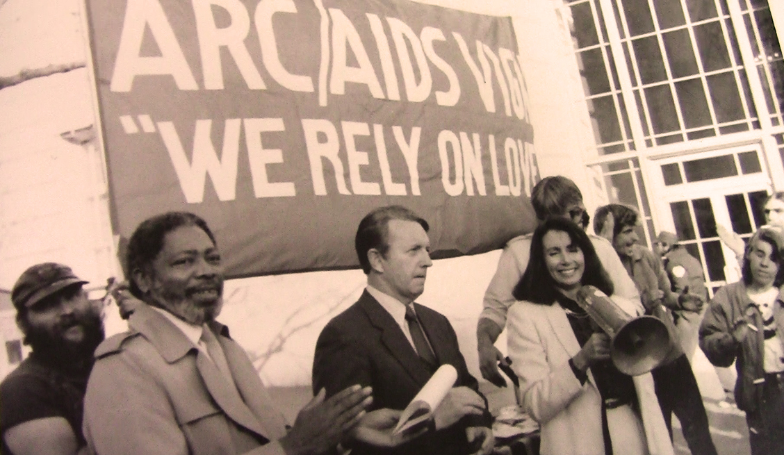 Congressman Ron Dellums, left, and Nancy Pelosi marched at the AIDS Vigil. Photo: Courtesy GLBT Historical Society