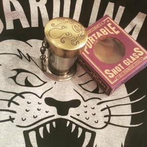 CLTCH Portable shot glass from Trixie & Milo (so stealthy that it collapses into a keychain) and the last of the popular Permanent Vacation limited edition Panthers tees.