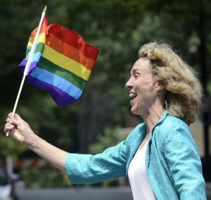 Mayor Jennifer Roberts marched in the Charlotte Pride Parade and has been an outspoken allied champion of the LGBT community. Photo Credit: Robert Lahser. The Charlotte Observer.