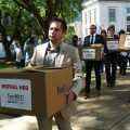featured image HB2 opponents protest, petition for repeal as NC GA returns for short session