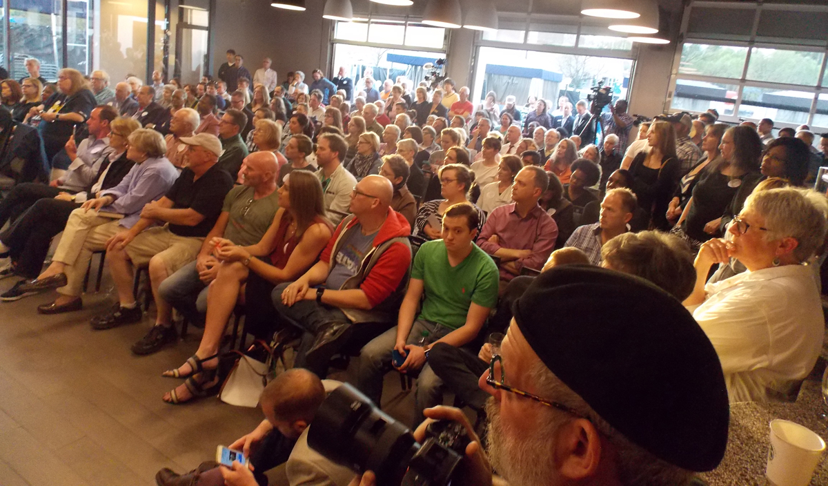 A standing room only crowd attended the TurnOut! NC town hall on April 14 in Charlotte, N.C.