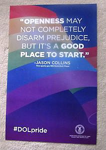 This year's U.S Dept of Labor LGBT Pride Month poster featuring a quote from out NBA basketball player Jason Collins.