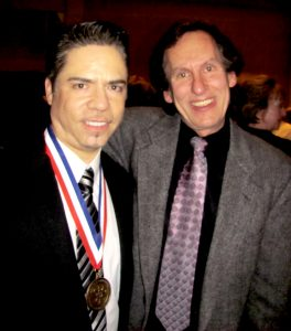 Me with Rudy Galindo at his induction ceremony into the U.S. Figure Skating Hall of Fame in 2013.