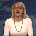 Betsy DeVos, as played by Kate McKinnon, says, 'In North Carolina: Stop being trans!'